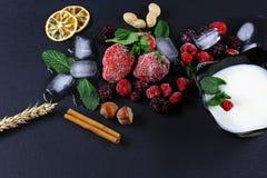 Το παγωμένο σμέουρο, βατόμουρο, φράουλες, φύλλα μεντών πιάτων γιαουρτιού, κομμάτια του πάγου σε έναν μαύρο σχιστόλιθο επιβιβάζετα Στοκ Εικόνα