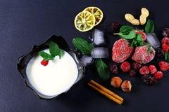 Το παγωμένο σμέουρο, βατόμουρο, φράουλες, φύλλα μεντών πιάτων γιαουρτιού, κομμάτια του πάγου σε έναν μαύρο σχιστόλιθο επιβιβάζετα Στοκ εικόνα με δικαίωμα ελεύθερης χρήσης