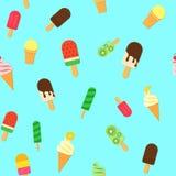 Το παγωτό επαναλαμβάνει το άνευ ραφής σχέδιο στο trandy ύφος περικοπών εγγράφου Νόστιμο φωτεινό ραβδί παγωτού και καλοκαίρι κώνων Στοκ Φωτογραφίες