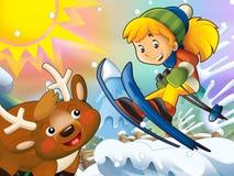Το παιδί κινούμενων σχεδίων πηδά προς τα κάτω - με τους χαρακτήρες Χριστουγέννων Στοκ φωτογραφίες με δικαίωμα ελεύθερης χρήσης