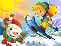 Το παιδί κινούμενων σχεδίων πηδά προς τα κάτω - με τους χαρακτήρες Χριστουγέννων Στοκ Εικόνα