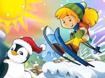 Το παιδί κινούμενων σχεδίων πηδά προς τα κάτω - με τους χαρακτήρες Χριστουγέννων Στοκ εικόνα με δικαίωμα ελεύθερης χρήσης