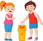Το παιδί ρίχνει τα απορρίματα στα απορρίμματα διανυσματική απεικόνιση
