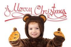 Το παιδί σε Χριστούγεννα καρναβάλι αφορά το κοστούμι που απομονώνεται το λευκό με το διάστημα και το κείμενο αντιγράφων στοκ εικόνες