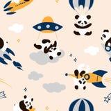 Το παιδαριώδες άνευ ραφής σχέδιο panda με συρμένα τα χέρι διαστημικά στοιχεία χωρίζει κατά διαστήματα, πύραυλος, αστέρι, ufo, αλε ελεύθερη απεικόνιση δικαιώματος