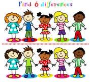 Το παιχνίδι διαφοράς με τα παιδιά κολλά τους αριθμούς Στοκ φωτογραφία με δικαίωμα ελεύθερης χρήσης