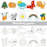Το παιχνίδι παιδιών για να βρεί το σχετικό ζευγάρι των αντικειμένων Στοκ Φωτογραφία