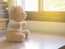 Το παιχνίδι teddy αντέχει κάθεται από το παράθυρο στοκ εικόνα με δικαίωμα ελεύθερης χρήσης
