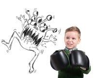 Το παιδί αντιμετωπίζει έναν ιό Στοκ Εικόνες