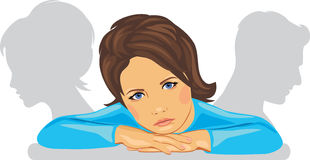 Το παιδί είναι λυπημένο λόγω του διαζυγίου των γονέων Στοκ Φωτογραφία