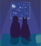 Το παιδί και το σκυλί εξετάζουν το νυχτερινό ουρανό Στοκ Εικόνα