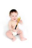 Το παιδί με ένα κουτάλι Στοκ φωτογραφίες με δικαίωμα ελεύθερης χρήσης
