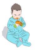 Το παιδί με τα χρώματα που κάθονται στο πάτωμα Διανυσματική απεικόνιση