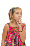 Το παιδί σκέφτεται για τη διδαγμένη απόφαση Στοκ εικόνες με δικαίωμα ελεύθερης χρήσης