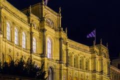Το παλάτι 1874, κάθισμα Maximilianeum Landtag τη νύχτα, Munic Στοκ φωτογραφία με δικαίωμα ελεύθερης χρήσης