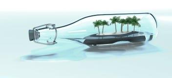 Το παλαιό νησί μπουκαλιών 6ος γυαλιού με επτά φοίνικες τρισδιάστατους δίνει διανυσματική απεικόνιση