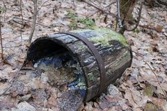 Το παλαιό ξύλινο βαρέλι με τα πλαίσια σιδήρου, που σπάζουν και σάπια, βρίσκεται στο δάσος φθινοπώρου στα ξηρά φύλλα Στοκ φωτογραφία με δικαίωμα ελεύθερης χρήσης