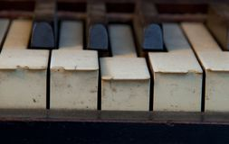 Το παλαιό πιάνο ελεφαντόδοντου κλειδώνει ξεχασμένος στοκ φωτογραφία με δικαίωμα ελεύθερης χρήσης