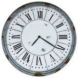 το παλαιό ρολόι ανασκόπησης απομόνωσε το λευκό Στοκ Φωτογραφίες