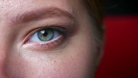 Το πανέμορφο πράσινο μάτι του καυκάσιου προτύπου στο makeup που εξετάζει κάτω από και τη κάμερα κατ' ευθείαν, φυσικός φαίνεται εσ απόθεμα βίντεο