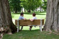 Το παντρεμένο ζευγάρι κάθεται ευτυχώς στον πάγκο στοκ εικόνα