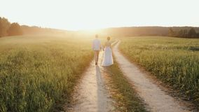 Το παντρεμένο ζευγάρι, ο άνδρας και η γυναίκα, που περπατούν σε μια οδική εκμετάλλευση επαρχίας παραδίδουν το φως ηλιοβασιλέματος απόθεμα βίντεο