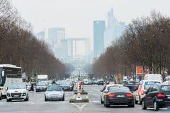 Το Παρίσι έχει τα χειρότερα μποτιλιαρίσματα στην Ευρώπη. Άποψη σχετικά με το busine του Παρισιού Στοκ Φωτογραφία