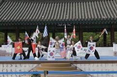 Το παραδοσιακό κορεατικό γεγονός απόδοσης και εμπειρίας πολεμικής τέχνης παρουσιάζει στοκ φωτογραφία με δικαίωμα ελεύθερης χρήσης