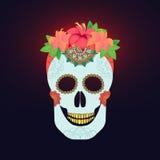 Το παραδοσιακό μεξικάνικο κρανίο catrina με τη διακόσμηση χρωμάτων και ο ζωηρόχρωμος χρόνος άνοιξη ανθίζουν τη ρύθμιση στην τρίχα Στοκ Εικόνα
