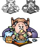 Το παχύ άτομο τρώει το γεύμα ελεύθερη απεικόνιση δικαιώματος