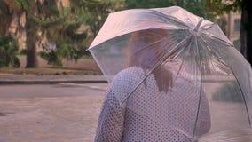 Το παχύ κορίτσι πιπεροριζών με τα γυαλιά επάνω τα μικρά σκαλοπάτια στο πάρκο στο βροχερό καιρό, που κρατά την ομπρέλα απόθεμα βίντεο