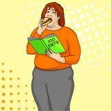 Το παχύ κορίτσι τρώει burger και διαβάζει το βιβλίο για το πώς να χάσει αναδρομικό διάνυσμα τέχνης βάρους το λαϊκό Μίμηση ύφους κ Στοκ φωτογραφία με δικαίωμα ελεύθερης χρήσης