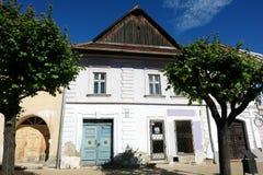 Το παλαιό σλοβάκικο σπίτι με δύο δέντρα Στοκ εικόνες με δικαίωμα ελεύθερης χρήσης