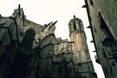 Το παλαιό Castle στο γοτθικό τέταρτο της Βαρκελώνης, Ισπανία Στοκ Εικόνες