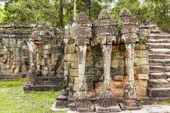 Το πεζούλι των ελεφάντων σε Angkor, Siem συγκεντρώνει, Καμπότζη λ Στοκ Φωτογραφίες