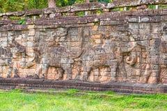 Το πεζούλι των ελεφάντων σε Angkor, Siem συγκεντρώνει, Καμπότζη λ Στοκ Φωτογραφία