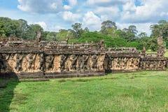 Το πεζούλι των ελεφάντων σε Angkor, Siem συγκεντρώνει, Καμπότζη λ Στοκ Εικόνες