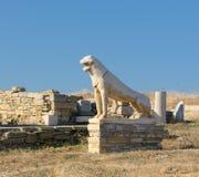 Το πεζούλι των λιονταριών, Delos νησί, Ελλάδα Στοκ Εικόνες