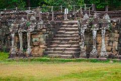 Το πεζούλι των ελεφάντων, Angkor Thom, Siem συγκεντρώνει, Καμπότζη Στοκ Φωτογραφία