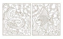 Το περίγραμμα έθεσε με τις απεικονίσεις στο λεκιασμένο ύφος γυαλιού με φωτεινά αφηρημένα δύο εξωτικά ψάρια ανάμεσα στο φύκι, το κ διανυσματική απεικόνιση