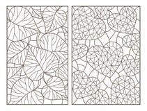 Το περίγραμμα έθεσε με τις απεικονίσεις με τα αφηρημένα υπόβαθρα, τις καρδιές και τα φύλλα, σκοτεινές περιλήψεις στο άσπρο υπόβαθ Στοκ Φωτογραφία