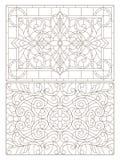 Το περίγραμμα έθεσε με τις απεικονίσεις του λεκιασμένου γυαλιού με τους αφηρημένους στροβίλους και τα λουλούδια, οριζόντιος προσα διανυσματική απεικόνιση