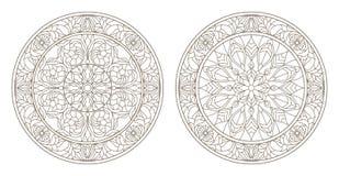 Το περίγραμμα έθεσε με τις απεικονίσεις του λεκιασμένου γυαλιού, γύρω από λεκιασμένη floral, σκοτεινή περίληψη γυαλιού σε ένα άσπ Στοκ Εικόνες