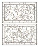 Το περίγραμμα έθεσε με τις απεικονίσεις του λεκιασμένου γυαλιού με τους αφηρημένους στροβίλους και των λουλουδιών στα πλαίσια, ορ Στοκ Εικόνες