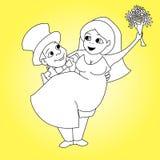 Το περίγραμμα των γαμήλιων χαρακτήρων Στοκ εικόνες με δικαίωμα ελεύθερης χρήσης