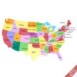 το περίγραμμα χαρτών περιγράμματος δηλώνει τις ΗΠΑ Στοκ Φωτογραφία
