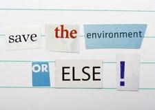 το περιβάλλον σώζει Στοκ Εικόνες