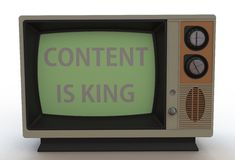 Το ΠΕΡΙΕΧΟΜΕΝΟ ΕΙΝΑΙ ΒΑΣΙΛΙΑΣ, μήνυμα στην εκλεκτής ποιότητας TV Στοκ φωτογραφία με δικαίωμα ελεύθερης χρήσης