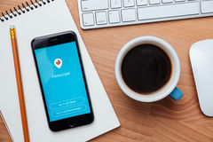 Το περισκόπιο είναι ζωντανή τηλεοπτική ροή app για iOS και αρρενωπός Στοκ Φωτογραφίες