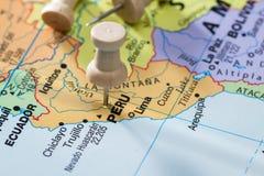 Το Περού χαρακτήρισε σε έναν χάρτη στοκ εικόνα